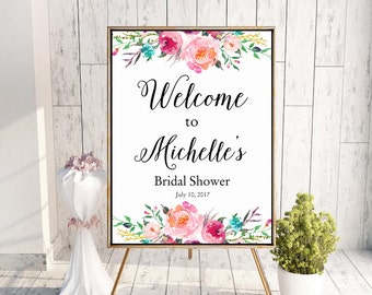 Bridal Shower Welcome Sign, Bridal Shower Sign, Floral Bridal Shower Welcome, Baby Shower Welcome Sign, Floral Bridal Shower Welcome Sign