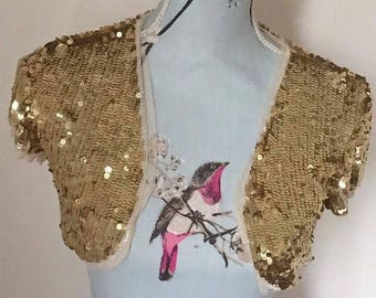 Funky sequin cropped waiscoat great for burning man