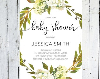 Baby Shower Invitation Girl, Baby Shower Invitation Boy, Gender Neutral, Greenery, Printable, Printed, Floral, White, Green, Rustic, Wreath
