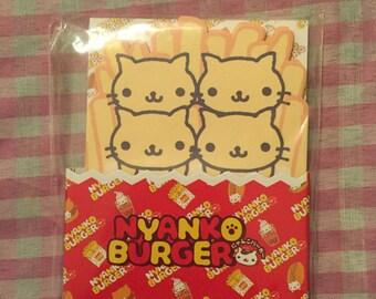 RARE San-x Nyan Nyanko burger fries memo pad