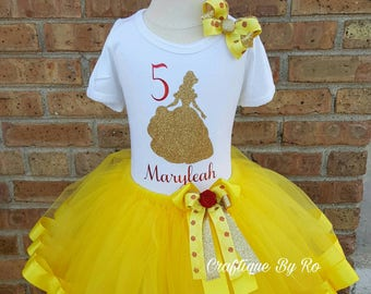 Beauty and the Beast Tutu Set - Belle Inspired Tutu Set -  Ribbon Tutu - Belle Birthday Outfit - Belle Birthday Tutu