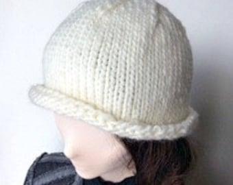 White Chunky Knit Hat/White Knit Hat/White Roll Brim Knit Hat/White Beanie/White Knit Beanie/Knit Beanie/Chunky Knit Beanie/Roll Brim Beanie