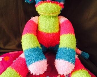 Colorful plush sock monkey
