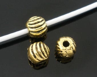 Corrugated Spacer Beads, Antique Gold, 5 mm (1388)