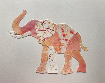 Original Watercolor Collage Elephant