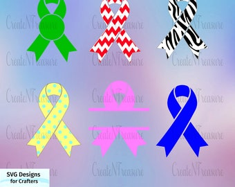 Cancer Awareness Ribbon SVG, DXF. Cutting file for Silhouette cameo and Cricut design space. Cancer and other survivor ribbon digital file.