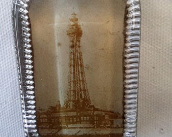 Glass paperweight, Blackpool tower. Antique, heavy glass weight, early 19th century paperweight.