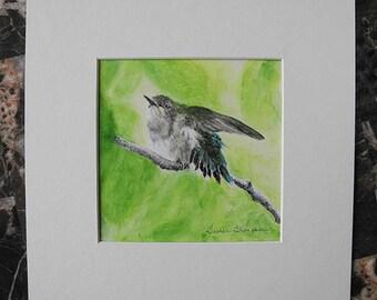 Hummingbird print, Hummingbird painting, Hummingbird art, bird painting, bird art, hummingbird gift, bird wall art, woodland nursery decor
