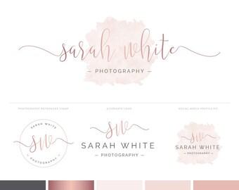 Logo Design | Branding Kit | Photography Logo & Watermark | Watercolour Logo | Rose Gold Logo | Rose Gold Branding Package