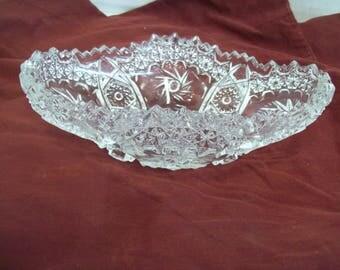 Cut Glass Rectangular Shaped Relish Dish, Bowl #501