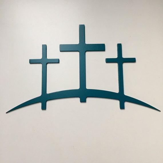 3 Crosses metal sign religious cross metal home decor