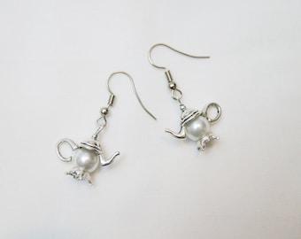 Tibetan Silver Teapot White Pearl Earrings Jewelry