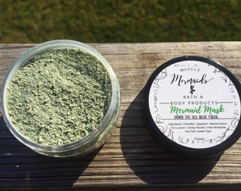 Mermaid Mask - Under The Sea Face Mask - Chlorella Spirulina Sea Salt Facial Scrub / Mask 2 or 4 oz