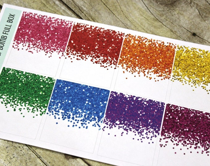 Glitter Bomb Planner Stickers - Full Box Planner Stickers - Erin Condren Life Planner - Day Designer - Functional stickers - Glitter Full