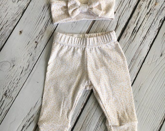 Leggings and Bow Headband Set, Gold and White Sparkle Dot Print, Baby Pants, Going Home Outfit, Baby Girl Leggings, Party Outfit