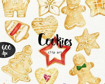 Watercolor Cookies clipart 600 dpi PNG, food collection clipart, baked goods,PNG on transparent background for scrapbooking, DIY cards