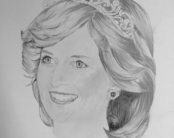 Print: Princess Diana Hand Drawn Illustration - 8x10