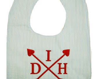 Preppy Monogrammed Valentines Day Arrows Bib