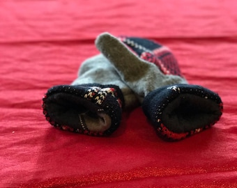 Handmade mittens made from upcycled sweaters, wool, cashmere blend, gray, black, red, warm, winter, gift, christmas