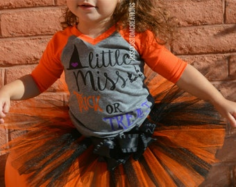Baby Girl Halloween Outfit, Little Miss Trick or Treat, Baby Girl Clothes, Toddler Girl Halloween Shirt, Baby's First Halloween, Fall Baby
