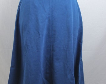 1970s Vintage Blue Polyester Full Swing Skirt size Small