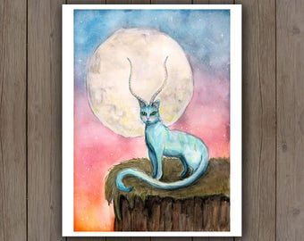 Watercolour Art Print - Fantasy Cat Antelope Moon / Blue Mythological Creature / Fantasy Handpainted Watercolor Painting / Cat Kingdom