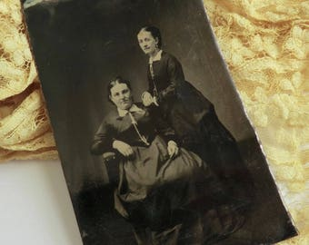 Tintype Photo Two Victorian Women Wearing Watch Chains Victorian Earrings