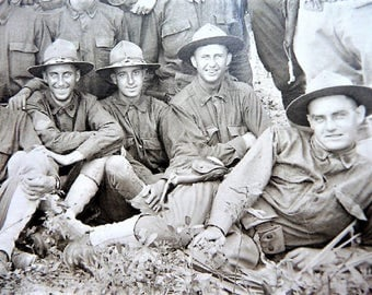 """Old Military Army Soldier Photograph - """" The Happy 1st Platoon """" - Militaria Souvenir"""