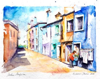 """Original Watercolour - Free delivery """"Burano Venice Italy"""" (landscape colors South Sun travel houses alley tourism light heat)"""