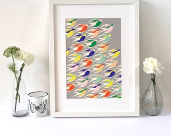 Art print / Wall art / Birds in flight illustration / Gift / Free UK shipping