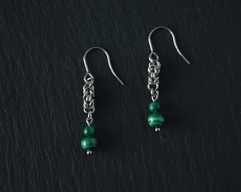 Month of birth October-November, in steel and malachite earrings jewelry personalized,