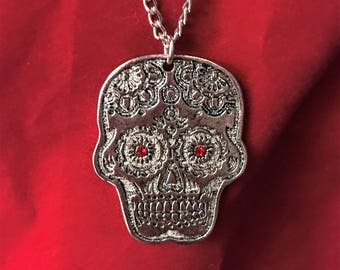 Sugar Skull Charm and Necklace