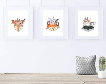 Woodland Nursery Print, Set of 3, Woodland Theme, Woodland Art Print, Kids Room Decor, Nursery Art Print, Woodland Art, Deer, Fox, Raccoon