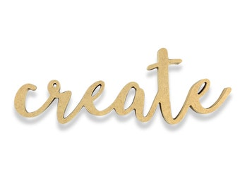 Create Sign | Create Wood Sign | Unfinished Word Cutout | DIY Words | Word Cutouts | Word Cut Out