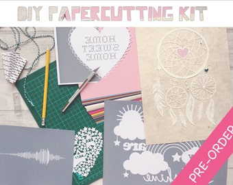 DIY Papercutting Kit + Digital Download, Introduction to / Beginner's paper cutting, Cut your own, Papercut templates, Craft supplies, Hobby
