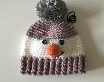 Tuque snowman gray and pink (2-5 years)