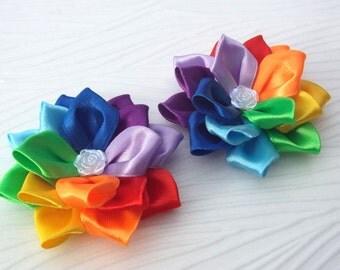 Kanzashi rainbow hair clips rainbow fabric flowers bows bright alligator hair clip girl's hair clips baby hair ties bows set of 2 hair clips