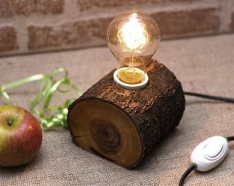 Wood lamp - Rustic lamp - Edison lamp - Apricot lamp