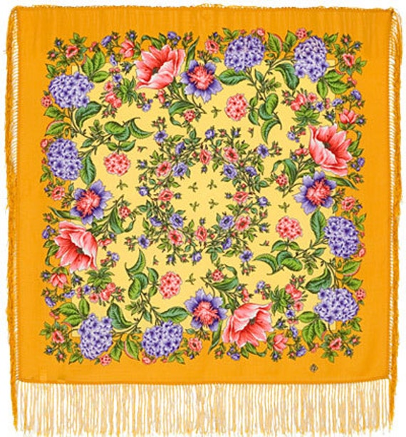 """Scarf woolen with a silk fringe """"""""Floral Passion"""""""" 89x89 cm 35''x35'' / Wool floral pavlovo posad shawl"""
