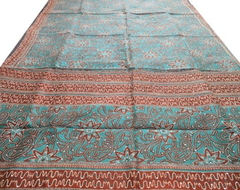 Free Shipping Green Antique Vintage Sari Art Silk Saree Floral Printed Wrap Fabric Indian Craft Kantha Stitch Clothing Sarong MD441