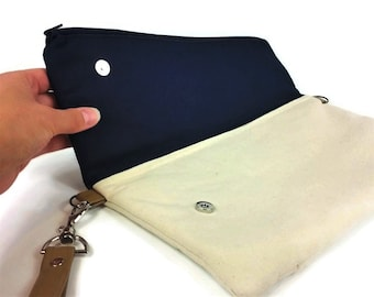 Build Your Own Clutch - Womens Casual Clutch, Envelope Clutch, Fold Over Clutch, Womens Canvas CrossBody Bag, Fold Over CrossBody bag