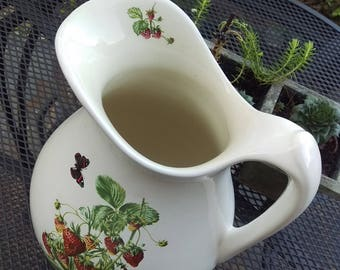X-Large water pitcher, embellished on the spout, front and back with strawberries and butterflies, transfer-ware, white pottery, strawberry
