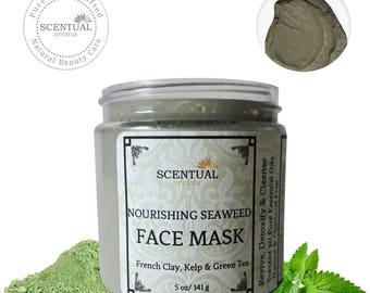 Seaweed Face Mask, Organic Sea Kelp Face Mask, Hydrating Clay mask, Natural Face Mask, Gift Idea