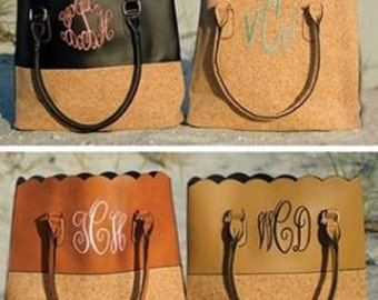 Cork and Faux-leather Monogrammed personalized Scalloped purse tote with handles