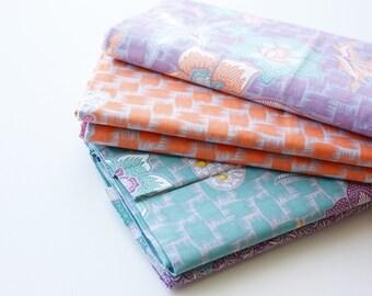Batik Fabric, Floral Batik, Indonesian Batik, Batik Sarong, Bamboo Forest, Butterflies, Flowers, Cotton, Orange, Green, Purple, 2 metre long