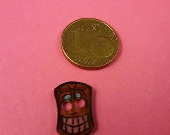 "Children subject button, button with Tikikopf, Tikimaske ""Tiki"""