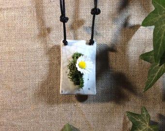 Plant necklace raku ceramics