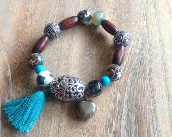 Boho Beaded Bracelet, gemstone, wood, turquoise jewellery, contemporary, tassel, charm bracelet, gift, stretch bracelet, China agate,
