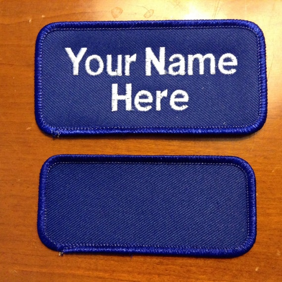 Custom personalized embroidered name tag patch all royal for Embroidered tags personalized