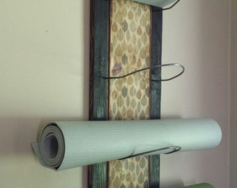 4 Tier Yoga Mat Holder - wall mounted, yoga supplies, yoga storage, yoga gifts, yoga studio, handmade, wood yoga mat holder